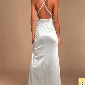 Lulu's Dresses - Lulu's Ever Enchanted White Satin Surplice Dress